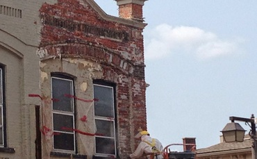 Historic building restoration with abrasive blasting